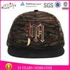 Black Suede Brim Snapback Cap,Camo Snapback Cap,Metal Plate Custom Made Snapback Cap