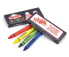 Prang Fun Pro crayons. Box comes with your one colour print logo. Crayons feature 4 different colours.