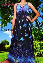 ANGELA-1122 Evening Casual Ladies Women Elegant Long Maxi Dress Sexy Strap Party Beach Dress Ready Made Garments