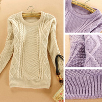 7990 Women Autumn Winter Korean Fashion Long Sleeve O-Neck Solid Candy Colors Casual Pullover Sweaters