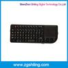 2.4G RF smart TV backlight mini wireless touchpad keyboard,QWERTY82 all-key design air mouse keyboard