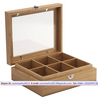Clear Acrylic 6 Compartments Natural Bamboo Tea Gift Box