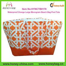 2014 Hot Sale Orange Pool Tote Handbags Extra Large Beach Bag Ladies