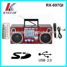 MP3 Alarm Clock Boombox FM Radio with AUX IN/Karaoke/USB/SD