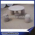 Rústico granito pedra redonda conjunto de de jantar com bancos em promoção