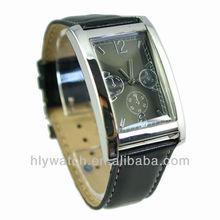 Black color sample chronograph leather band men watch squar case top grade wrist watch SW013