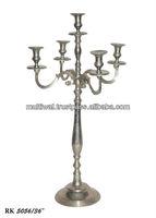 Multifunctional 5 arm Candelabra for Wedding Centerpieces , Nickel Plated Candelabra ,Silver Candelabra