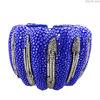 Brazalete de Piel de Raya con Diamantes Brazalete Ajustable de color Azul Brazalete Ajustable en Plata Esterlina 925