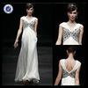 New Design Customized Modern V-Neck Long White Chiffon Beaded Banquet Dress Evening Dress E0040