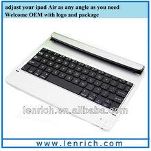 LBK162 Metal Aluminum BT Wireless Keyboard Case Cover for Apple iPad Air iPad 5