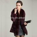 """Plus récent moderne, long manteau de fourrure vison en provenance de chine avec fourrure de renard col v collier femme manteau"""" 11"""""""