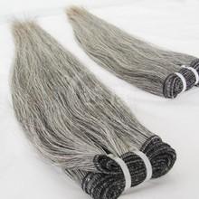 Grade 5A virgin brazilian hair extensions grey human hair weaving