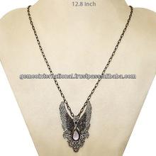 Collar de Pendiente en Plata Esterlina 925 Collar con Colgante en Forma de alas con Diamantes y Piedra Lunar