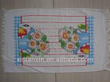 100% cotton printed tassels tea & kitchen towel