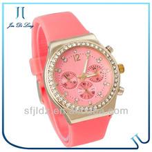 2013 Hot Sale Diamond Watch Three Eyes Rubber Watch Lovely Nurse Watch