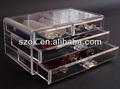 Maquiagem de acrílico transparente caixa de armazenamento dividido com gavetas