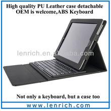 LBK101 For iPad 2 Keyboard wireless bluetooth case, Folding Bluetooth Keyboard for Apple iPad 2/3 detachable ABS keyboard