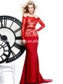 2014 elegante coleção de grife de noite vestidos de baile de fora- a- ombro sereia mangas compridas de vermelho e preto do laço de cetim vestido concurso