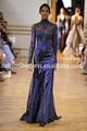 2014 nova chegada lindo vestido de noite alta pescoço laço azul royal longo mangas sereia ver através prom vestido formal
