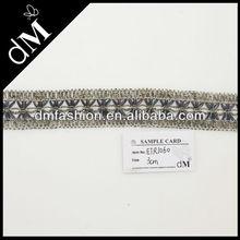 Nuovo arrivo ingrosso trim ricamo design con argento e fili d'oro, etr1060 per la decorazione di abbigliamento