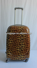 Latest styles for ABS&PC leopard printed hard side Trolley Luggage