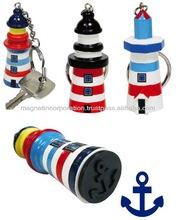 [Promotion Item]Hut Shape Key Chain with Rudder Shape Stamp (Blue / Green / Pink)