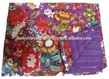 Kantha Flower Print Bed Sheet, Handmade Kantha Quilts Blue Color Bed Sheets/ Quilts