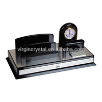 Modern Table Wood Clocks with Place Name Card Holder Design for Office Desktop Gifts