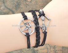 2014 most fashion mulitilayer birds Cupid's arrows leather cord bracelet , infinity leather bracelet