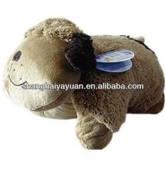 Cute stuffed brown dog pillow