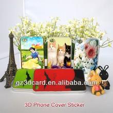 Customized plastic 3d lenticular cell phone sticker iphone 4/5/6s samsung sticker