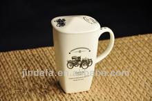 tall porcelain/ceramic square coffee mug with lid
