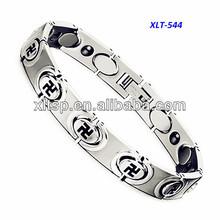 Hematite Magnetic Titanium Health Bracelet with Swastika