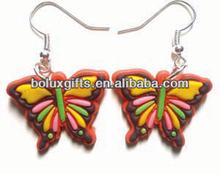 butterfly PVC earring,cheap soft pvc earring eardrop