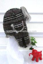 wool and natural rabbit grey fur hat