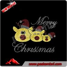 Glitter RUDOLPH Red nose Reindeer Rhinestone Christmas hot fix Transfer