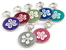 Wholesale cheap flower glitter pet tags