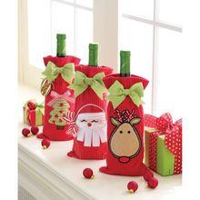 Christmas Velvet Wine Bag Cute Wine Bottle Gift Bags Wholesale