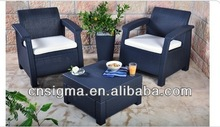 2014 Wicker Patio Classic Sofa double chatting sofa chairs with tea table