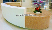 Hot sale Curved Solid surface Reception Desk for Exhibition display