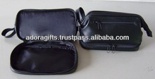 ADACB - 0077 three compartment make up bag in leather / unisex leather cosmetic bags with custom logo / cosmetic bag brand name