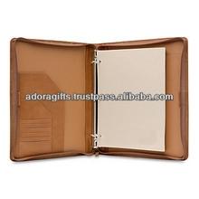 ADARB - 0092 pu leather ring binder with card pockets / office supplier presentation folder ring binder / metal 3 ring binder