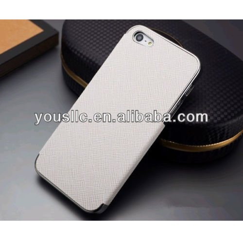 NEW LEATHER CHROME HARD CASE MOBILE PHONE CASE COVER FOR APPLE IPHONE5 5S