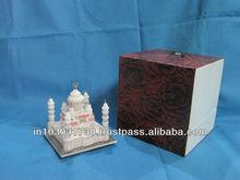 "Taj Mahal Replica ~ 3""x 3"" Marble Taj Mahal Replica Handmade Traditional Indian Handicraft Arts"