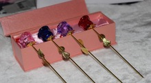 hot selling valentine's day GIFT crystal rose with golden leaves gift