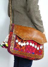 girls leather shoulder bag vintage fabric leather tote bag