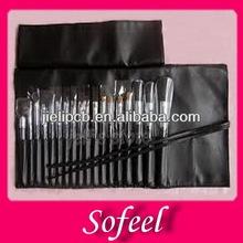 Sofeel 18pcs black wood nylon hair brushes for make up