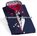 erkek derin renk yeni moda stil gömlek korean versiyonu ince uzun kollu gömlek baskılı gömlek