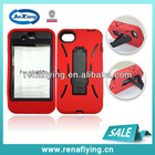 robot case for iphone 4 with kickstand made by pc&silicone
