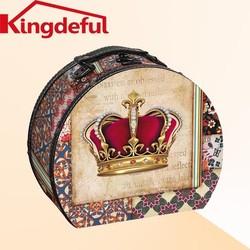 Small Crown wood Suitcase,Decrative Suitcase,Canvas storage box